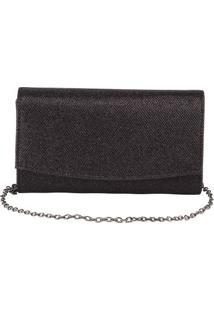 Bolsa Clutch Com Textura Preta -