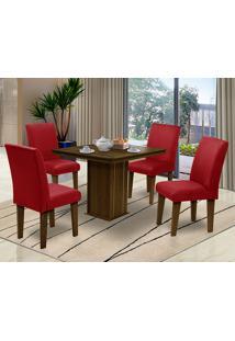Mesa Para Sala De Jantar Com 4 Cadeiras Saint Thomas – Dobuê Movelaria - Castanho / Marsala