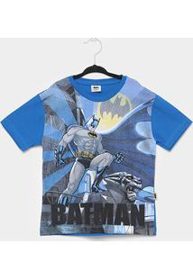 Camiseta Infantil Fakini Batman Masculina - Masculino-Azul