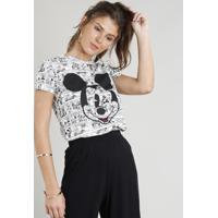 ff469dbd98 Blusa Feminina Estampada Mickey Manga Curta Decote Redondo Branca