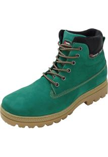 Bota Atron Shoes Adventure Ride Work Em Couro Verde - Kanui