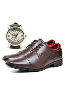 Sapato Social Urbano Com Relógio New Masculino Dubuy 832Db Marrom