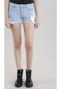 Short Jeans Reto Destroyed Azul Claro