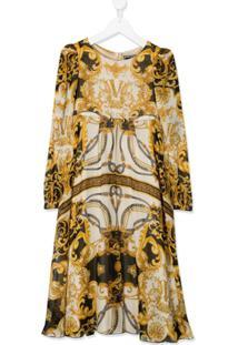 Young Versace Vestido Com Estampa Barroca - Amarelo