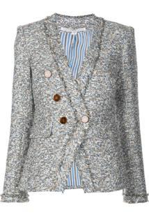 Veronica Beard Jaqueta De Tweed Com Abotoamento Duplo Azul
