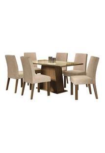 Conjunto Sala De Jantar Madesa Patricia Mesa Tampo De Vidro Com 6 Cadeiras Rustic/Crema/Imperial Rustic