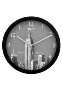 Relógio De Parede - Redondo Foto De Cidades - 30Cm Preto