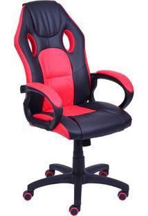 Cadeira Office Gamer- Preta & Vermelha- 117X60X51Cm