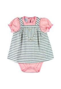 Vestido Bebê Ano Zero Cotton Listrado E Body Suedine Bordado Coraçáo - Mescla