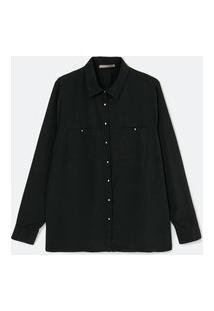 Camisa Alongada Em Crepe Com Mangas Longas E Botões Metalizados Curve & Plus Size | Ashua Curve E Plus Size | Preto | 54