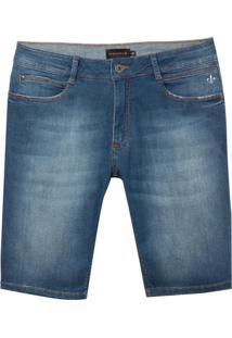 Bermuda Dudalina Jeans Stretch Five Pockets Masculina (Jeans Medio, 36)