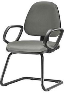 Cadeira Sky Com Bracos Fixos Assento Courino Cinza Escuro Base Fixa Preta - 54832 - Sun House