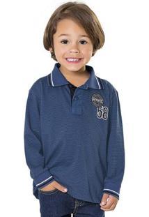 Camisa Polo Manga Longa Azul