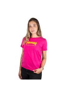 Camiseta Thrasher Magazine Skate Mag Feminina Pink
