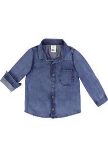 Camisa Jeans Infantil Bebê Menino Com Costura Em Tom Contrastante Puc