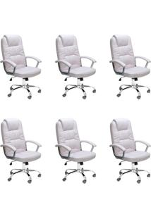 Conjunto Com 6 Cadeiras De Escritório Presidente Finland Branco