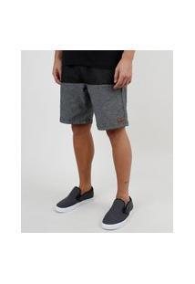 Bermuda Jeans Masculina Reta Com Recorte E Cordão Preta