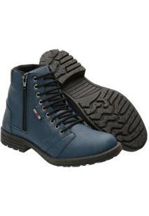 Bota Casual Cano Médio Confort Fechamento Zíper E Cadarço Khaata Masculino - Masculino-Azul
