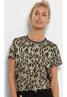 Camiseta Colcci Lurex Estampada Feminina - Feminino-Preto 99bdb30e93