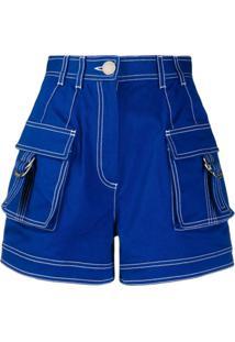 Balmain Short Jeans Cintura Alta - Azul