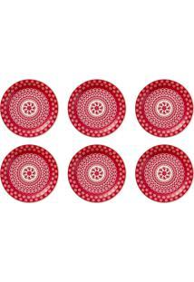 6 Pratos Sobremesa 20Cm Daily Floreal Renda 005230 Oxford
