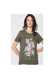 Camiseta Colcci Flores Verde