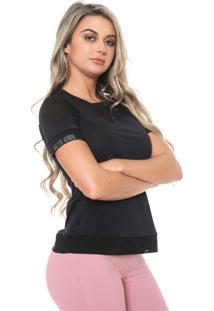 Camiseta Alto Giro Recortes Power Net Preta