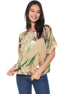 Camiseta Forum Estampada Bege/Verde