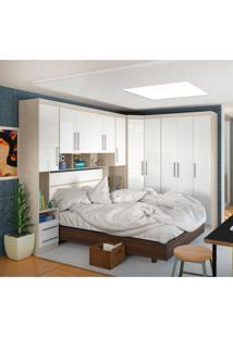 Quarto Casal Smart Com 11 Portas 6 Gavetas Crema/Branco