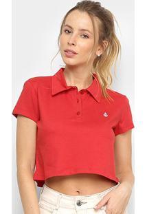 Camisa Polo Cropped Volcom Heather Stone Feminina - Feminino