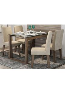 Mesa Para Sala De Jantar Anita Com 4 Cadeiras Milena Marrocos/Bege - Cimol Móveis