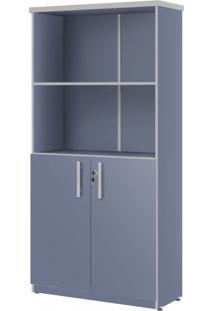 Estante Para Escritório 2 Portas Top 165Cm Plata Móveis Azul/Cinza