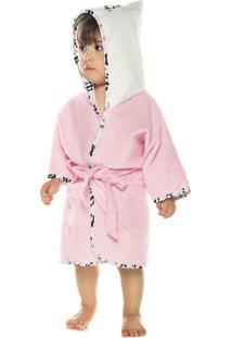 Roupão Felpudo Bebê Quimono Com Capuz Mini Menina Pp Com 1 Peça Lepper Rosa