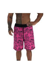 Bermuda Masculina Alto Conceito Moletom Limitado Caveiras E Rosas Rosa Escuro