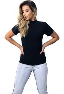Camiseta Rb Moda Gola Alta Preto Ref: 053