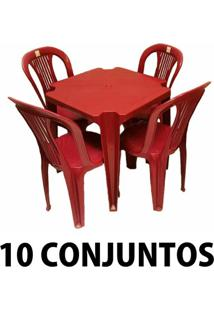 Conjunto Mesa E 4 Cadeiras Bistro Plastico Vinho 10 Conjuntos