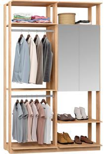 Closet Modulado 1 Armário C/ Espelho E 2 Cabideiros Clothes 9015 – Be Mobiliário - Carvalho Mel