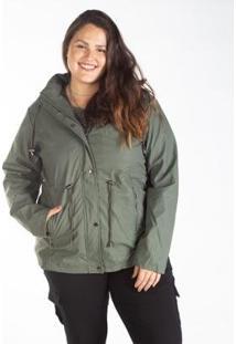 Jaqueta Parka Plus Size Capuz Bolso Zíper Besni Feminina - Feminino-Verde Escuro