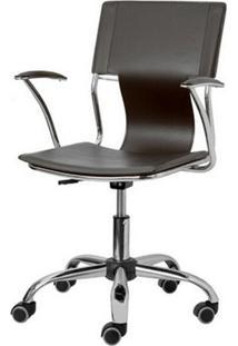 Cadeira Escritorio P-022 Marrom Cromada - 4630 - Sun House