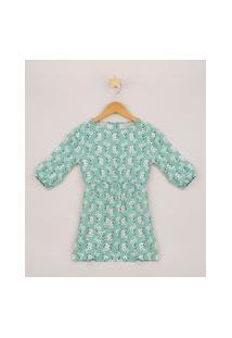 Vestido Infantil Estampado Floral Manga Longa Verde Claro