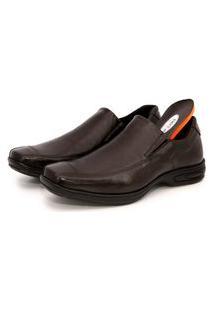 Sapato Social Liso Br2 Footwear Comfort Gel Couro Cafe