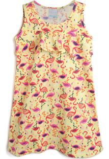 Vestido Malwee Kids Flamingo Amarelo