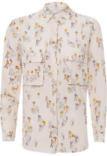Camisa Feminina Seda Botões Estampada - Bege