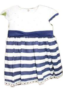Vestido Paraíso Moda Bebê Listrado Azul