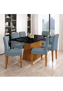 Conjunto De Mesa De Jantar Com Tampo De Vidro Bárbara E 6 Cadeiras Ana Animalle Nero E Azul