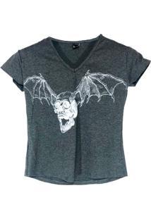 T-Shirt Macchina Wings Caveira Cinza - Kanui