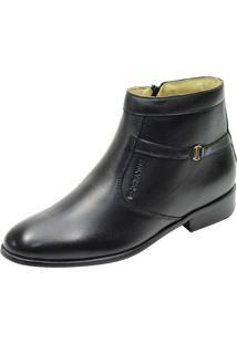 Botina Social Conforto Atron Shoes 701 Couro Preto
