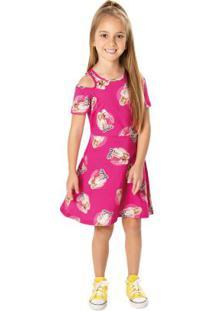 Vestido Pink Evasê Barbie® Menina Malwee Kids