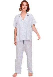 Pijama Longo Estampado Feminino Azul
