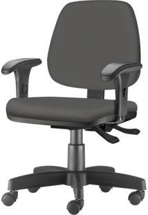 Cadeira Job Com Bracos Curvados Assento Courino Cinza Escuro Base Rodizio Metalico Preto - 54622 Sun House
